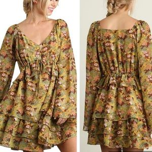 Umgee Gold Floral Ruffle Trim Bell Sleeve Dress